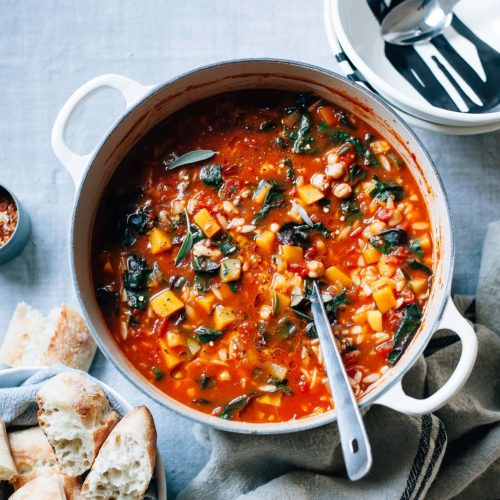 Vegan Butternut Minestrone with Sage, Chickpeas & Chard - The First Mess