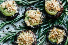 Vegan Stuffed Mushrooms with Pesto Cream & Garlicky Bread Crumbs - The First Mess