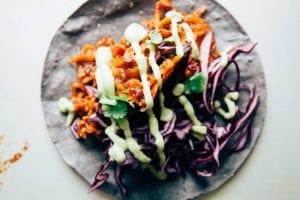 Saucy & Sticky Sweet Potato Tacos with Creamy Cilantro Avocado Sauce - The First Mess
