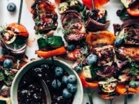 Summer Veg & Tofu Skewers with Blueberry BBQ Sauce - The First Mess