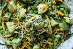COLD VEG AND MANGO NOODLES WITH HOT HONEY SESAME DRESSING - THE FIRST MESS