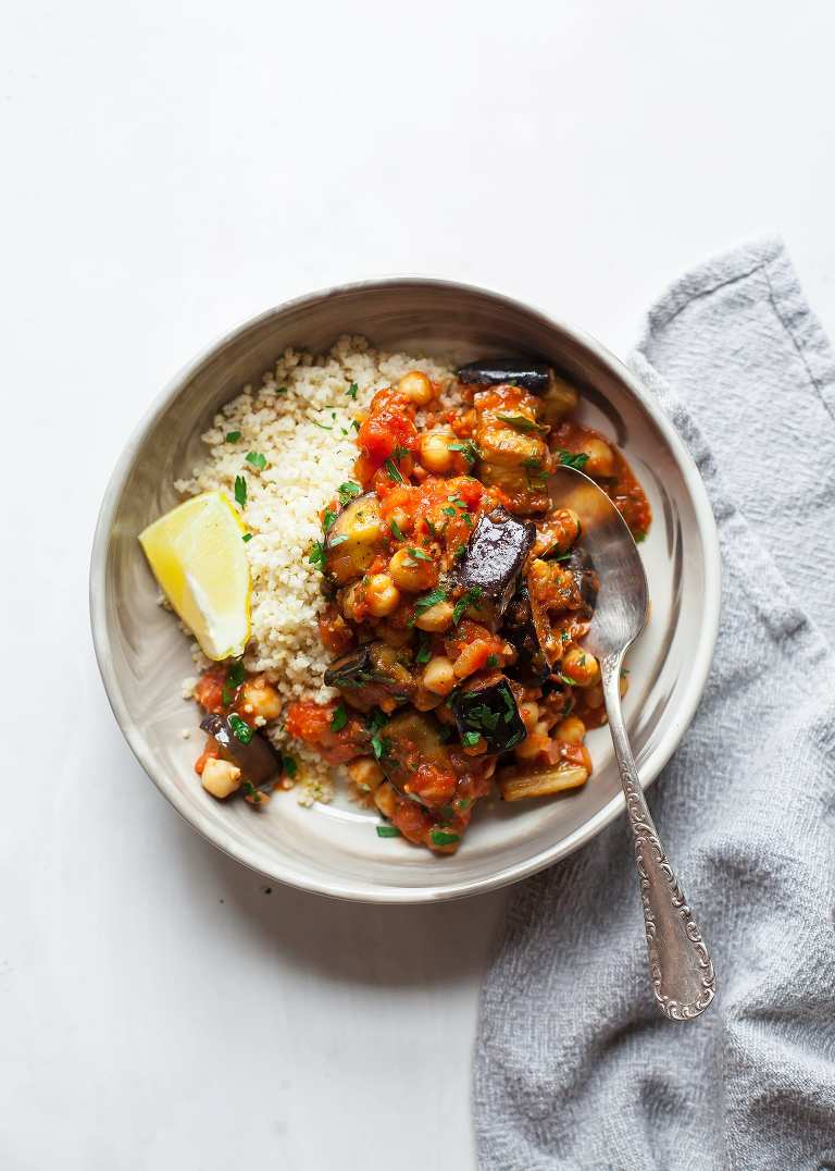 BRAISED HARISSA EGGPLANT WITH CHICKPEAS - The First Mess
