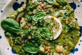 DEEP GREEN LENTIL STEW WITH SPINACH AND TAHINI - The First Mess