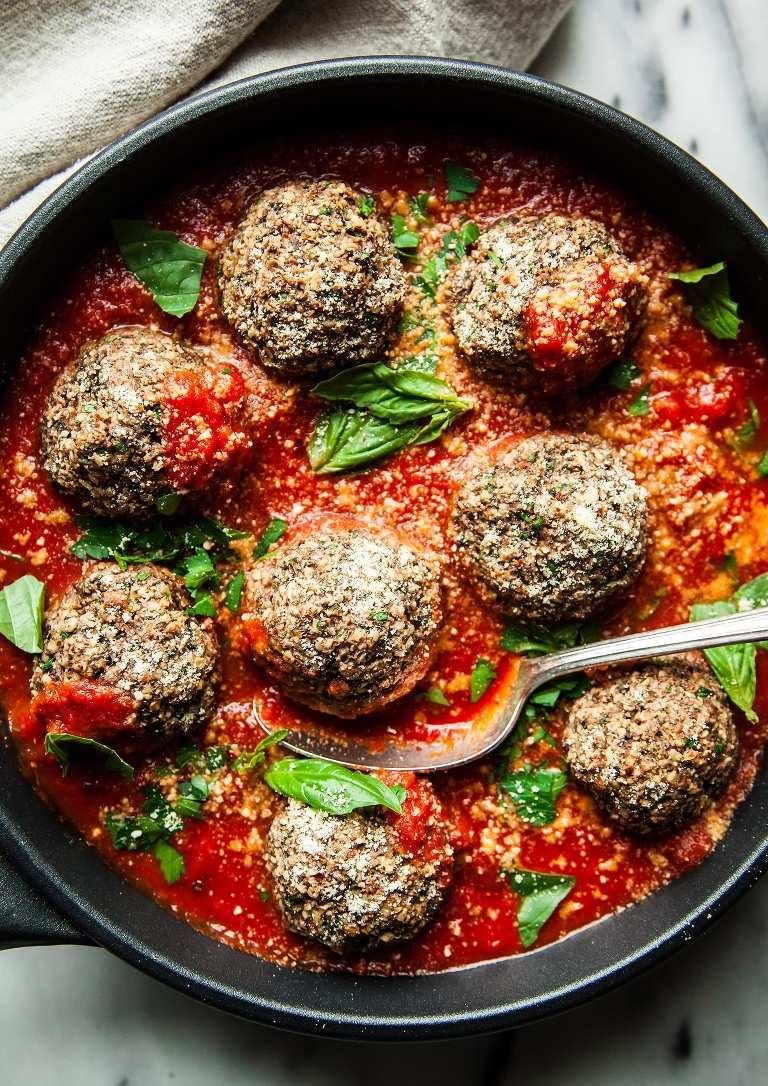 GIANT VEGAN MUSHROOM MEATBALLS & GARLIC BREAD - The First Mess #veganrecipes #healthyrecipes