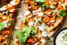 VEGAN BUFFALO CAULIFLOWER PIZZA W/ ONION CREAM - The First Mess