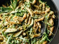 CREAMY OLIVE & ARUGULA PESTO PASTA (vegan) - The First Mess