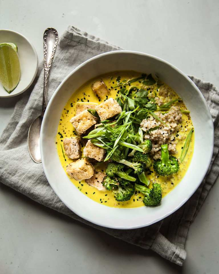 Golden Coconut Broth Bowls with Crispy Tofu - The First Mess