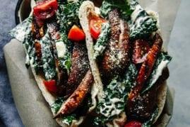 Miso grilled Portobello & Kale Caesar Pitas - The First Mess