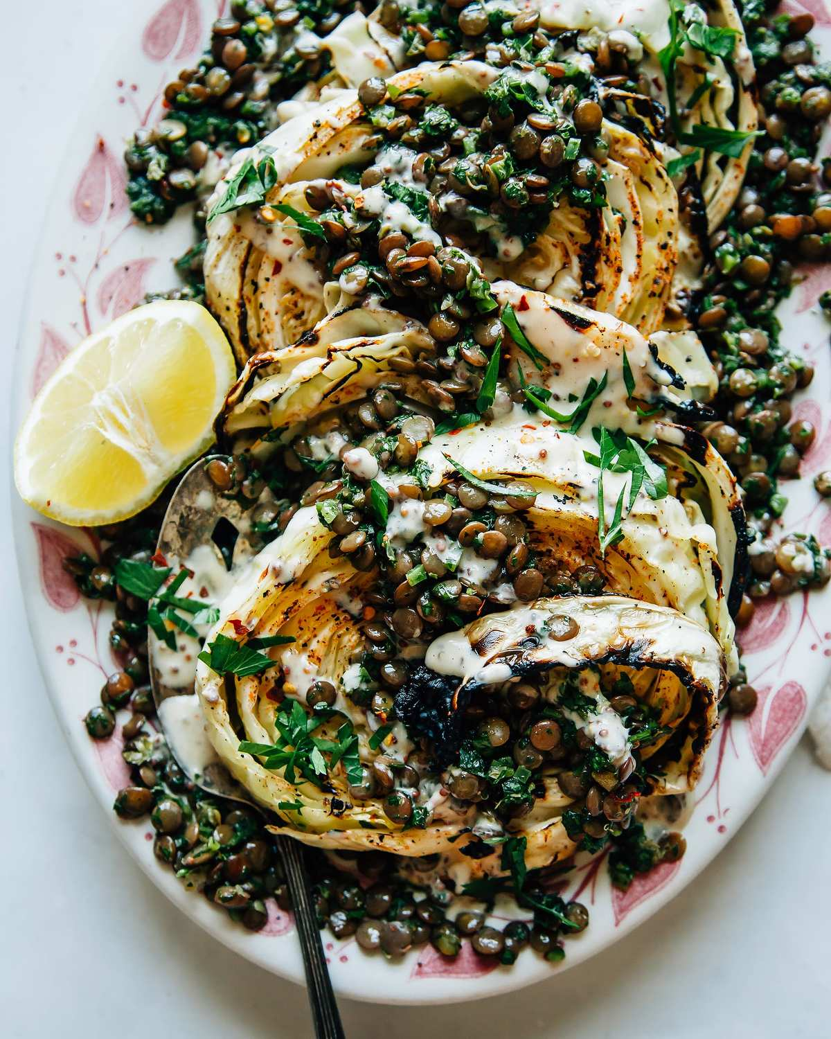 Grilled Cabbage Steaks With Jalape 209 O Chimichurri Lentils