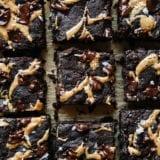 An up close overhead shot of vegan and grain-free brownies
