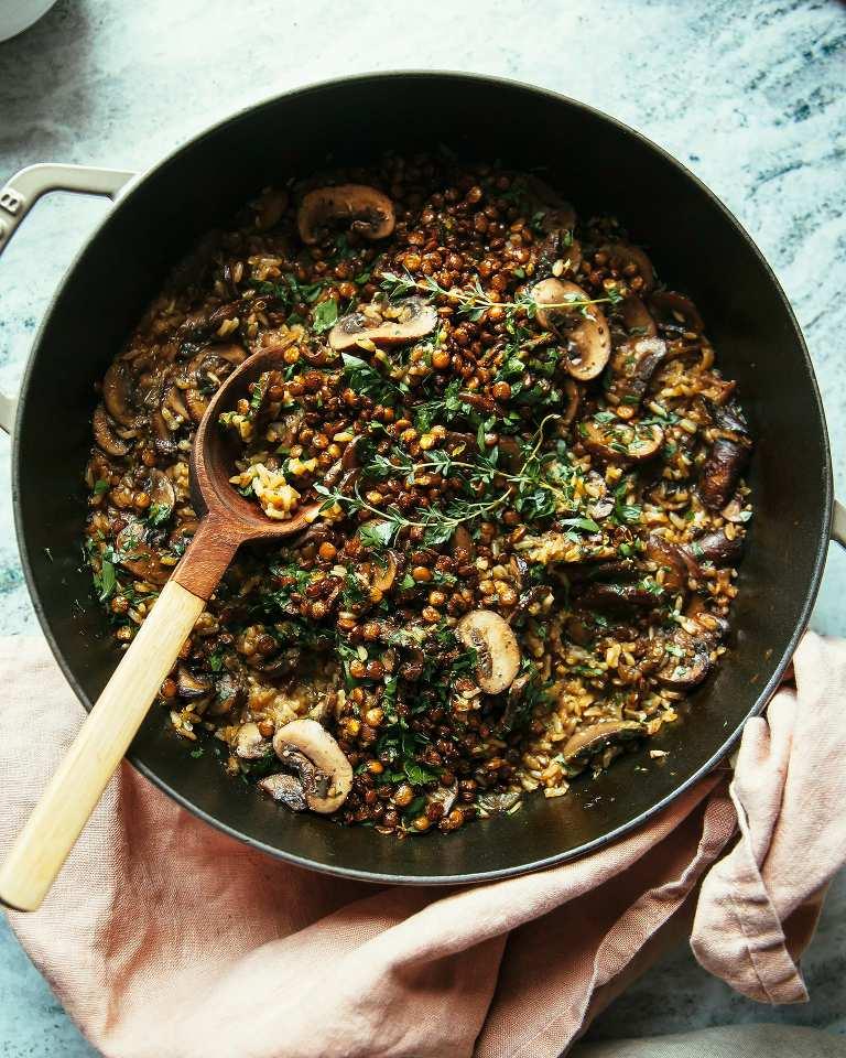 Mushroom Brown Rice Bake with Caramelized Shallots, Crispy Lentils & Gremolata