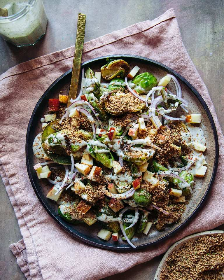 LOADED BRUSSELS SPROUTS SALAD WITH CREAMY MAPLE MUSTARD DRESSING AND SMOKY PECAN CRUMBLE - The First Mess
