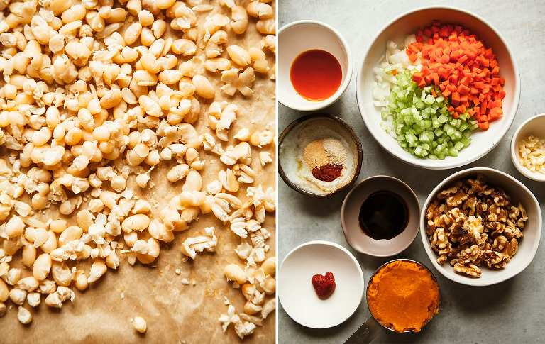 A duo of images. One on the left is an overhead shot of white beans after drying out in the oven. Image on the right is an overhead shot of prepped chopped vegetables, walnuts, and sauces.