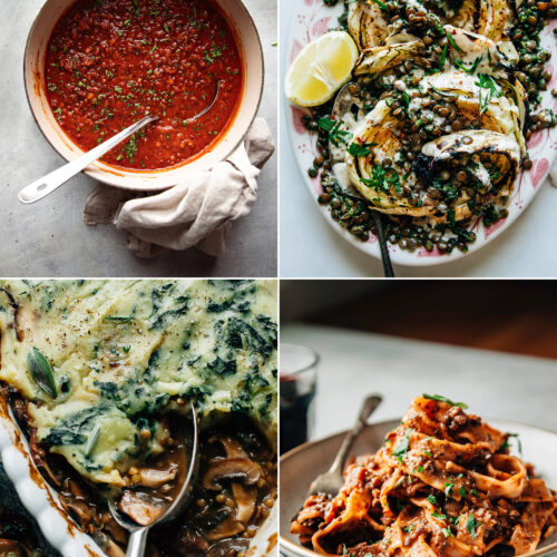 A grid of 4 images shows some lentil recipe highlights: classic lentil soup, grilled cabbage steaks with lentils on top, a mushroom and lentil gravy pie, and a beet bolognese pasta with lentils.